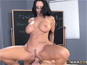 buxomy instructor Ava Addams is plumbed by her college girl