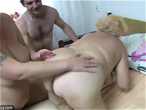 OldNanny grandmother and mature milked fur covered labia