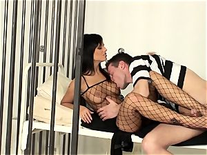 dame cop drilling in a fishnet assets tights